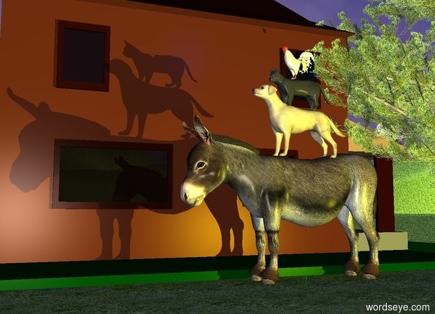 Input text: the ground is grass.   the donkey is right of the house. the dog on the  donkey. the cat on the dog. the chicken on the cat. The dim blue light is two feet above the chicken. the tall grass on the ground. the grass is right of the donkey. the tree is behind the donkey. the donkey is hitting yellow light .
