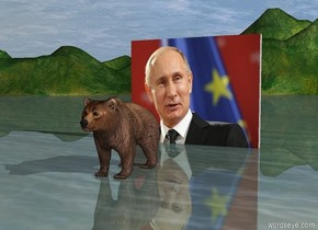 The bear is 8 feet in front of the [putin] wall. The wall is 10 feet wide. It is morning.