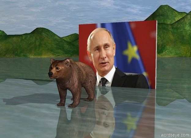 Input text: The bear is 8 feet in front of the [putin] wall. The wall is 10 feet wide. It is morning.