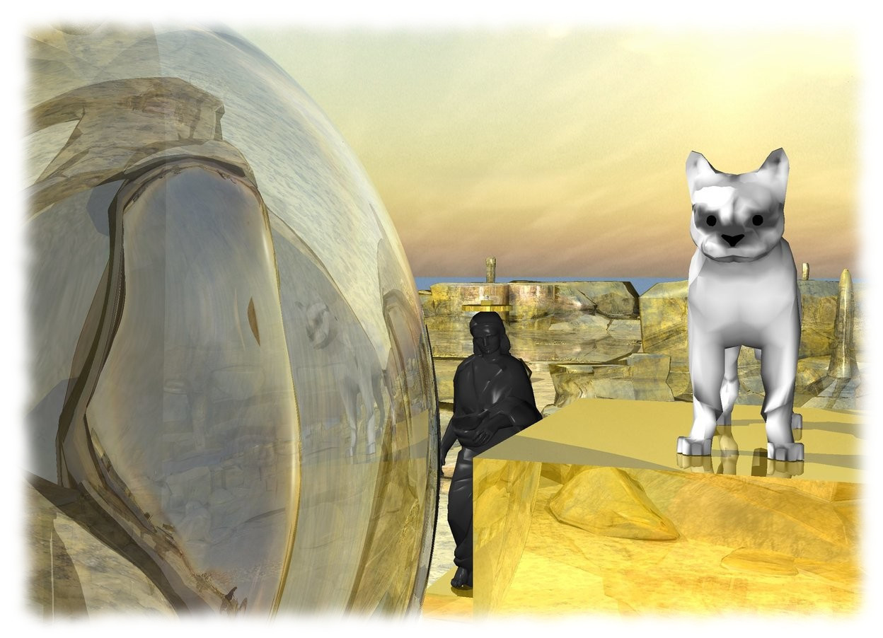 Input text: there is a golden pyramid on top of a white cat. A white bird is on top of the pyramid. The white cat is on top of a large golden cube. The golden cube is inside a 10 foot wide golden cylinder. The cylinder is 60 feet above the ground.  There is a 55 foot tall woman under the cylinder. there is a 20 foot wide golden cube under the woman. The ground is gold.  the sky is reflective.   The 30 foot tall white cat is on top of a 50 foot wide gold cube. There is a 90 foot tall and 60 foot wide transparent sphere 60 feet in front of the woman. There is a purple light in front of the sphere.