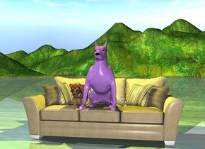 the lavender dog is on the couch. The yellow light is three inches above the dog. There is a tiger next to the dog