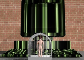 A man fit in a cage. A huge computer is in front of the cage. the computer is facing the cage. the monitor of the computer is [texture].  there is a large wall in front of the computer.