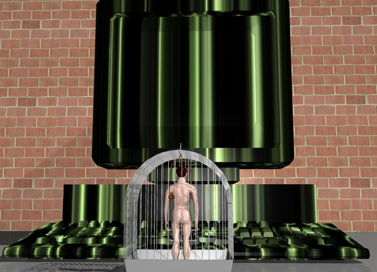 Input text: A man fit in a cage. A huge computer is in front of the cage. the computer is facing the cage. the monitor of the computer is [texture].  there is a large wall in front of the computer.