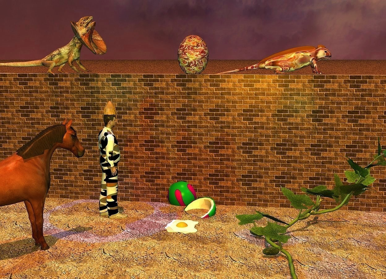 Input text: a very huge [texture] egg is -0.1 feet above a 30 feet long [brick] wall. it leans 90 degrees to the right. 2nd giant fried egg is 3 feet in front of the wall. a very huge  frilled lizard is -0.1 feet above and -9.3 feet to the left of the wall. it faces right. 2nd very giant [texture] lizard is -15 feet to the right of and -0.3 feet above the wall. it faces right. a huge [pattern] coconut is behind the giant egg. it is -1.8 feet above the ground. it leans 30 degrees to the southeast. the ground is [dirt]. a horse is 2 feet left of and 2 feet in front of the coconut. it faces the coconut. it is -0.078 feet above the ground. a [pattern] man is -1.3 feet right of and 1 feet behind the horse. he faces the coconut. a gold hat is -0.3 feet above the man. it faces the coconut. the sun's azimuth is 175 degrees. the sun's altitude is 78 degrees. the sun is old gold. the camera light is orange. a  dim cyan light is above the horse. a dim beige light is above the frilled lizard. a dim lilac light is on the lizard. a blue light is above the man. a giant cucumber is -13 feet to the right of and -0.1 feet in front of the wall. a dim aqua light is above the cucumber. a dim cyan light is 1 inch right of the frilled lizard