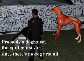 it is night. a gray doghouse is in front of a castle.  the castle is [stone]. the [stone] is 500 feet wide. the ground is grass. the ground is unreflective. a man is on the ground 12 inches in front of the doghouse. the man is -5 inches right of the doghouse. the man is facing the doghouse. a [meat] dog is 30 inches above the ground -2 inches right of the man. the dog is facing the man. the dog is leaning 10 degrees to the back.