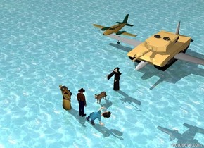 Grim reaper is facing Cowboy.  Cowboy is eight feet in front of the Grim reaper. Cowboy is facing Grim reaper.  Woman is to the left of Cowboy. Woman is facing Grim reaper.  Old Man is to the right of Cowboy. Old Man is facing Grim reaper.  Big Tank is five feet behind Grim reaper.   The ground is water.  small airplane eight feet above Grim reaper. Small airplane seven feet behind Grim reaper.  cat is 3 feet behind Cowboy