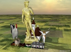 a gold leaf  statue.six small houses. the statue is 125 feet tall.the statue is behind the houses.the ground is grass.a chicken is left of the statue.the chicken is 60 feet tall.the chicken is facing southeast.right of the statue is an angel.the angel is 40 feet tall.a church is behind the statue.the church is 75 feet tall.