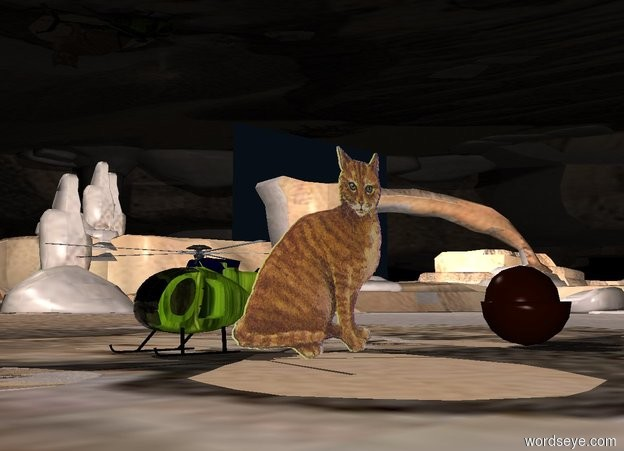 Input text: The giant cat is to the right of a melon helicopter. The cat is facing the helicopter. An extremely giant mango is 10 feet behind the cat. The sky is light blue. The ground is desert.