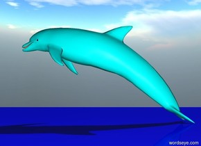 the cyan dolphin.  The  sun  is  big.The  ground  is  blue