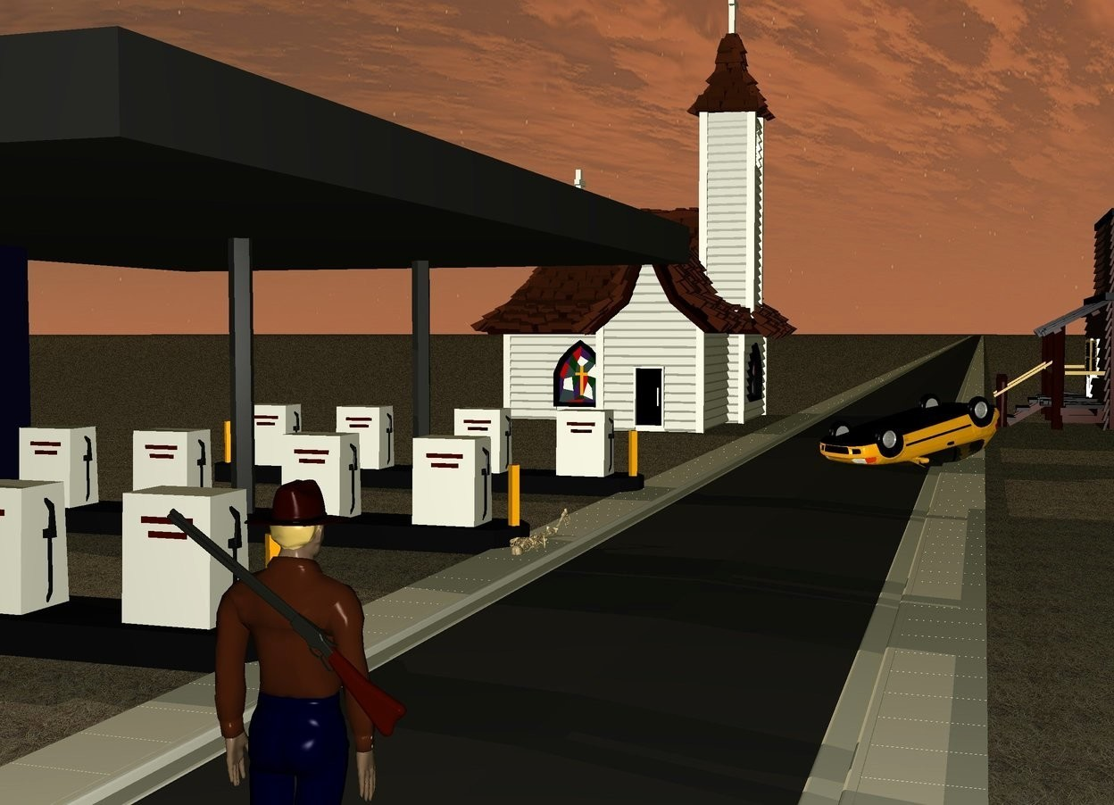 Input text: it is dusk. the ground is unreflective brown grass. a church. a road is to the right of the church. the road is 3000 feet long. the church is facing east. a gas station is 25 feet south of the church. a building is 14 feet east of the church. the building is facing west. a car is 4 feet to the northeast of the gas station. the car is facing southwest. the car is upside down. the car is 9 feet long. the car is leaning 12 degrees to the south. the car is 1.2 foot in the ground. a skeleton is -1 foot east of the gas station. the skeleton is 4 feet tall. the skeleton is leaning 90 degrees to the south. the skeleton is .5 feet in the ground. an unreflective man is 5 feet southeast of the gas station. the man is facing north. the man is 5 feet tall. a shotgun is -2 inches south of the man. the shotgun is 2.7 feet off the ground. the shotgun is facing west. the shotgun is leaning 35 degrees to the north.