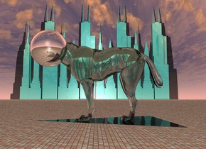 the translucent celadon green dingo is 18 inches above the ground. the 14 inch tall silver sphere is 7 inches inside the dingo. it is -12 inches in front of the dingo. there is a 4 foot tall shiny black flat pyramid 27 inches inside the dingo. it is leaning 90 degrees to the front. there are 12 shiny acid green skyscrapers 3000 feet to the left of the dingo. the skyscrapers are 200 feet apart. it is noon. the ground is matte brick.