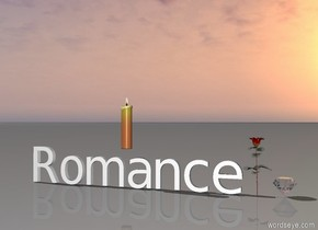 "The giant chrome diamond is to the right of the rose.  Small ""Romance"" is to the left of the rose.  The big candle is above ""Romance""."