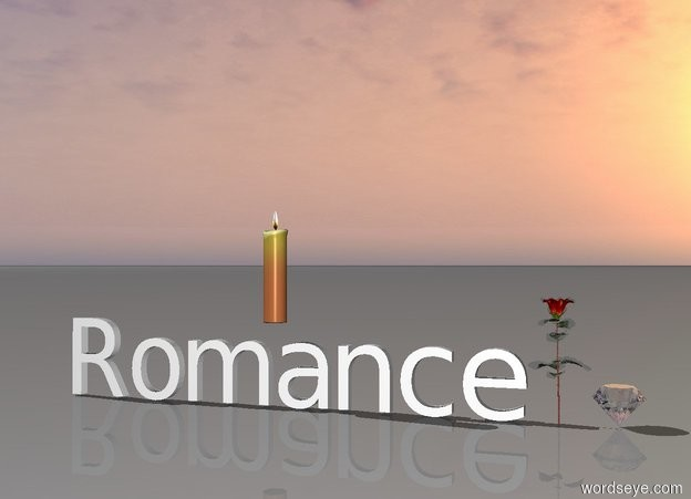 "Input text: The giant chrome diamond is to the right of the rose.  Small ""Romance"" is to the left of the rose.  The big candle is above ""Romance""."