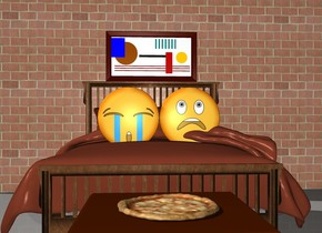 There is a bed on the ground. There are 2 emojis on top of the bed. There is a long tall brick wall behind the bed. There is a painting on the wall above the bed. There is a table in front of the bed. There is a pizza on the table.
