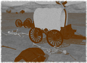 the ground is unreflective grass. a covered wagon. a barrel is 4 feet from the covered wagon. the barrel is 1 foot in the ground. the barrel is leaning 90 degrees to the left. an upside down vehicle is 5 feet to the northeast of the covered wagon. the vehicle is 3.6 feet in the ground. a skeleton is 3 feet behind the covered wagon. the skeleton is leaning 90 degrees to the north. the skeleton is .5 foot in the ground. an artifact is 1 foot to the west of the covered wagon. the artifact is leaning 80 degrees to the south. the artifact is 1.7 feet in the ground. a gun is 1 foot northwest of the artifact. the gun is leaning 90 degrees to the west. a small arrow is -11 inch south of the barrel. the arrow is facing north. another small arrow is -21 inch south of the artifact. the small arrow is .2 foot above the ground. the small arrow is leaning 98 degrees to the south. another small arrow is 1 inch south of the artifact. the small arrow is 1 inch in the ground. the small arrow is facing northeast. an ax is -3 foot north of the skeleton. the ax is facing north. the ax is leaning 99 degrees to the south. the ax is 2 inches off the ground. a vulture is -1.3 inch above the covered wagon. the vulture is facing northwest. a buffalo is 80 feet northeast of the vehicle. a small buffalo is 1 foot northwest of the buffalo. a bison is 8 feet north of the small buffalo.