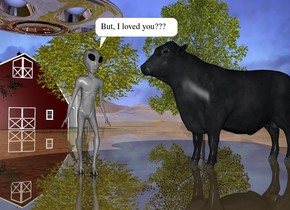 The alien is a foot to the left of the cow. the cow is facing the alien. the small barn is 40 feet behind the cow. the 5 small trees are in front of the barn. the ground is shiny. the small silver ufo is 3 feet above and 5 feet behind the alien. the large emoji is 2 feet to the left of the alien. it is facing the right.