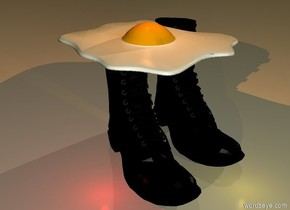a very huge fried egg.below the fried egg is a 1st very large boot.right of the 1st boot is a 2nd very large boot.in front of the boots is a gold light.above the fried egg is a old gold light.it is dawn.a red light is left of the 1st boot.