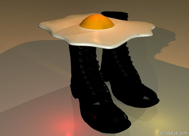 Input text: a very huge fried egg.below the fried egg is a 1st very large boot.right of the 1st boot is a 2nd very large boot.in front of the boots is a gold light.above the fried egg is a old gold light.it is dawn.a red light is left of the 1st boot.