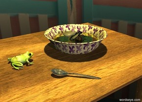 A frog is 4 inches wide [abstract]. It is on a [table] table. The ground is clear. The sky is [cafe]. A large texture bowl is 4 inches in front of the frog. A 12 inch wide clear yellow circle is 2 inches in the bowl. A 10 inch long silver spoon is -1 inches to the left of and -4 inches to the north of the bowl. It is facing southwest. A 5 inch wide [dark] fly is 3 inches in the bowl. It is leaning 20 degrees to the back. It is dusk. A lemon light is 10 feet above the bowl. A dim light is 30 feet above the bowl. Camera light is dark grey.