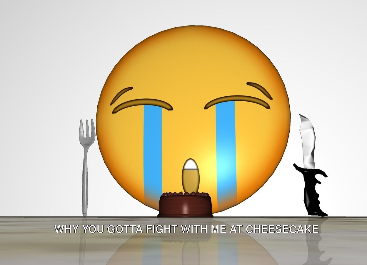 Input text: Emoji is behind a small cake. a fork is on the left of the emoji. the fork is facing down. a knife is on the right of the emoji. ground is marble. there is a wall behind the emoji.