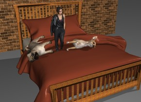 the large dog is on the bed. it is leaning 90 degrees to the left. a small woman is to the left of the dog. a second large dog is to the left of the woman. it is leaning 100 degrees to the right. the bed is metal. the [brick] wall is 3 feet behind the bed. it is morning.