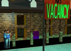 "a 10 feet tall rust pole faces right. a 2 feet tall and 3.5 feet wide lime green ""VACANCY"" is -0.001 feet in front of the pole. the ""VACANCY""is 6.4 feet above the ground. a 6 inch tall black ""NO"" is 1 inch above the ""VACANCY"". a 15 feet tall [brick] mount vernon is 6 feet behind the pole. the window of the mount vernon is beige. the ground is unreflective [pavement].  a 4 feet tall woman is -1.2 feet to the front of and -9 feet to the left of the mount vernon. a 4 feet tall man is -1.1 feet to the left of the woman.. he faces the woman. the shirt of the man is denim. a small pump shoe is -0.15 feet to the right of and -1.4 feet above the woman.  it is -0.5 feet to the front of the woman. it leans 23 degrees to the southeast. it is dawn. the sun is coral. 1 aqua light is 6 inches in front of the ""VACANCY"". the camera light is sky blue. 2 dim orange lights are 2 inches above the woman."