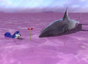 The large fish is twenty five inch in ground. The fish is transparent. There is a blue dog. The dog is thirteen inch inside ground. The dog is facing east. The ground is water. The ground is purple. The flower is ten inch in front of the fish. The flower is one inch inside ground. The dog is ten inch to the left of the flower.
