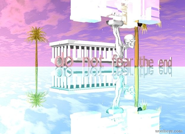 """Input text: The sun is pink.  The ground is reflective teal. A white man is upside down.    a  huge  white  skull is 1 feet right of the man. The skull is 5 feet off the ground.  A   large pink """" do not fear the end"""" is in front of the man. A  7 foot tall white temple is upside down.  The temple is 4 feet behind the man. There is a pink light 3 feet above the man. A 10 foot tall gold palm tree is  3 feet left of the temple. Another  25 foot tall gold palm tree is  1 inch right of the temple. There is a tiny reflective arch.   the arch is below the man. a small gold mat is on the ground."""