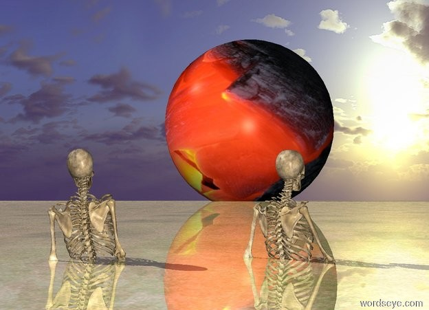 Input text: a first skeleton.the first skeleton is 4 feet in the ground.the first skeleton is facing north.the first skeleton is leaning 10 degrees to the west.a [fire]moon is 500 feet behind the skeleton.the moon is 200 feet tall.a second skeleton is 6 inches right of the first skeleton.the second skeleton is facing northeast.the ground is shiny.the moon is 10 feet in the ground.the ground is grass.