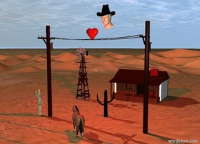 a phone line.a 5 feet tall tan head is 2 feet behind the phone line.the head is 25 feet above the ground.the head is leaning 20 degrees to the south.a 3.8 feet tall hat is -45 inches above the head.the hat is leaning 20 degrees to the south.a  3 feet tall heart is -50 inches above the phone line.the hat is black.the hat is -85 inches behind the head.a horse is in front of the phone line.the horse is facing northwest.a first cactus is 10 feet behind the horse.a red light is in front of the head.a second cactus is 2 feet left of the phone line.a windmill is 20 feet behind the second cactus.a cabin is 20 feet behind the first cactus.