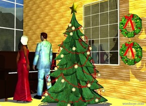 a christmas tree.a 20 feet tall wall is 2 feet behind the christmas tree.the wall is 30 feet long.a piano is 2 feet left of the tree.the piano is facing the tree.a man is right of the piano.the man is facing the piano.a woman is 6 inches in front of the man.the woman is facing the man.a first window is 1.10 feet behind the tree.the first window is 3 feet above the ground.a snow picture is behind the first window.the ground is snow.a first wreath is right of the first window.a 20 feet tall second window is left of the wall.the window is facing right.a yellow light is above the tree.a second wreath is 3 inches above the first wreath.the wall is paper.the woman is texture.the man is texture.the woman's hair is yellow.