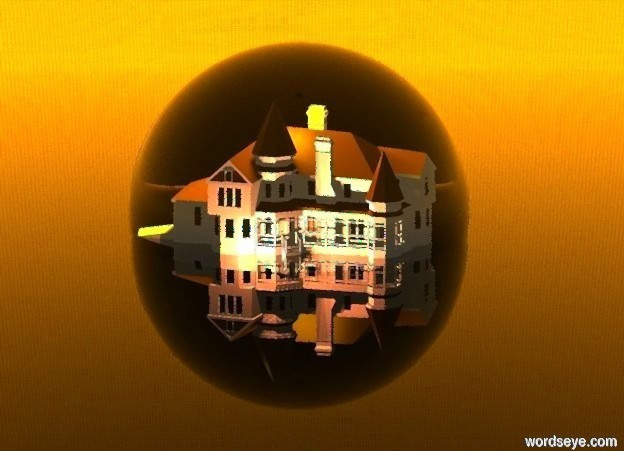 Input text: a 60 feet tall clear gold sphere is -27 feet above the ground. a house is -35 feet to the front of the sphere and on the ground. 12 gold lights are 1 feet above the house. 6 coral lights are 1 feet in front of the house. 8 orange lights are -2 feet above the sphere. 10 coral lights are 2 feet behind the house. the ground is clear. the sun is coral. the camera light is orange.the sky is fire. it is noon