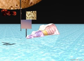 the ground is water. a pole is 5 feet above the ground. the pole is [color]. the pole is upside down. there are very huge binoculars 14 feet to left of the pole. the binoculars are 14 feet above the ground. the binoculars are [red]. the binoculars are facing left. the first large [sea] wave is to the right of the [art] pole and 5 feet into the [art] pole. the sky is [coffee]. the huge [sea] wave is to the right of the first large wave and 8 feet into the [art] pole. it is noon. the medium [sea] wave is to the left of the first large wave. the camera light is white. the ambient light is lilac