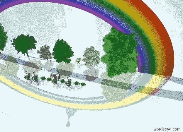 Input text: 10 green trees. a 150 feet tall rainbow is -80 feet above the trees. 3 shiny men are in front of the trees. 3 shiny women are in front of the men. a baby is in front of the women. 10 roses are in front of the baby. the ground is shiny. a 50 feet tall dodo is above the rainbow. it leans 70 degrees to the front.