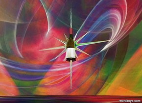 the sky is [space]. the ground is [space]. a gigantic wine bottle is 100 feet off the ground. a 50 foot tall [sun] north star is -36 feet above the wine bottle. a huge red light is north of the wine bottle. a huge blue light is south of the wine bottle. a huge bright yellow light is west of the wine bottle. a huge green light is east of the wine bottle. it is dusk.