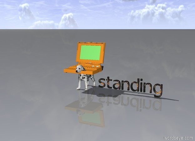 Input text: The Computer Is Next To a Tiny Woman standing on a dog