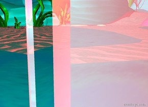 there is a pink shiny mirror on the ground. it is 10 feet tall. it is facing a second shiny mirror. the second mirror is blue. it is 7 feet tall. it is facing east. the camera light is cyan. the ambient light is red