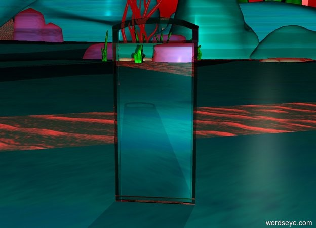 Input text: there is a clear dull mirror on the ground. it is 10 feet tall. it is facing a second mirror. the second mirror is clear. it is 7 feet tall. it is facing east. the camera light is cyan. the ambient light is red. it is sunrise