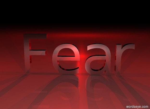 "Input text: It is night.  ""Fear"" is black and reflective.  The red light is three feet in front of ""Fear"".  The second red light is three feet behind ""Fear"".  The third red light is two feet to the left of ""Fear"".  The fourth red light is two feet to the right of ""Fear"".  The fifth red light is twenty feet behind and two feet above ""Fear""."