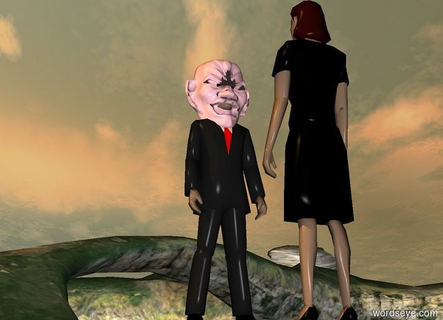 Input text: a man.a pink head is -15 inches above the man.the head is -10 inches in front of the man.a woman is 3 feet in front of the man.the woman is facing the man.the sun is amber.