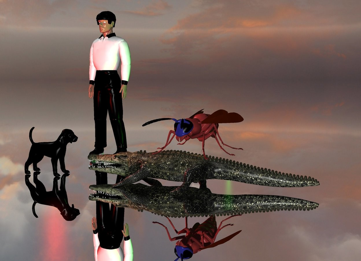 Input text: The large black dog is facing the small alligator. The alligator is facing the black dog. A green light is behind the alligator. A red light is above the black dog.  A football referee is 2 feet behind the dog.  A gigantic wasp is above the alligator.  The ground is silver.
