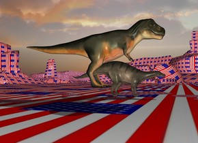 the tyrannosaurus is -25 feet behind and -7 feet above the dinosaur. The [flag] texture is on the ground. it is 30 feet tall. it is morning.
