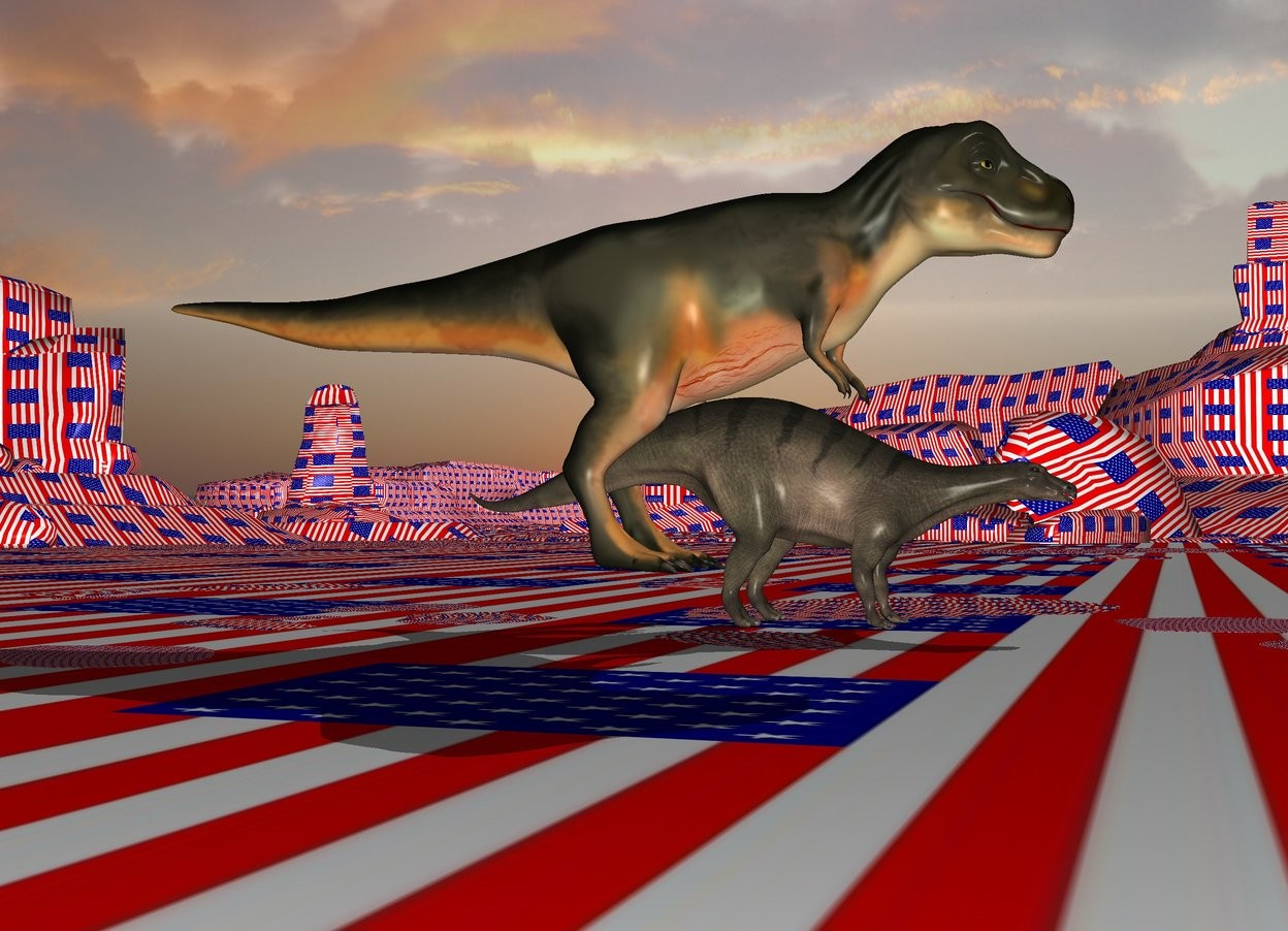 Input text: the tyrannosaurus is -25 feet behind and -7 feet above the dinosaur. The [flag] texture is on the ground. it is 30 feet tall. it is morning.