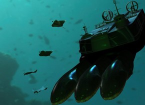 The ground is clear. The sky is 10000 feet wide [underwater]. A texture hovercraft is 50 feet above the ground. It is leaning 40 degrees to the front. An enormous electric eel is -25 feet above the hovercraft. It is leaning 40 degrees to the front. An enormous electric eel is to the left of the electric eel. It is leaning 40 degrees to the front. An enormous electric eel is 2.5 feet to the right of the electric eel. It is leaning 40 degrees to the front. A manta ray is 8 feet to the left of and -12 feet above the hovercraft. A manta ray is 5 feet to the left of and -6 feet above the hovercraft. A manta ray is 12 feet to the left of and -16 feet above the hovercraft. It is leaning 30 degrees to the front. A manta ray is 9 feet to the left of and -20 feet above the hovercraft. It is leaning 40 degrees to the front. 4 turquoise lights are above the hovercraft. Camera light is green. A dim lime light is in front of the hovercraft. A blue light is above the hovercraft. A light is -9 feet above the hovercraft.