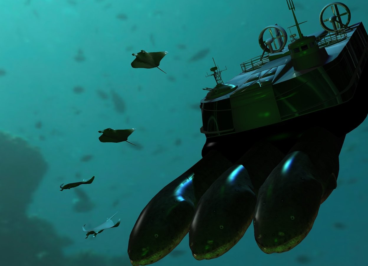Input text: The ground is clear. The sky is 10000 feet wide [underwater]. A texture hovercraft is 50 feet above the ground. It is leaning 40 degrees to the front. An enormous electric eel is -25 feet above the hovercraft. It is leaning 40 degrees to the front. An enormous electric eel is to the left of the electric eel. It is leaning 40 degrees to the front. An enormous electric eel is 2.5 feet to the right of the electric eel. It is leaning 40 degrees to the front. A manta ray is 8 feet to the left of and -12 feet above the hovercraft. A manta ray is 5 feet to the left of and -6 feet above the hovercraft. A manta ray is 12 feet to the left of and -16 feet above the hovercraft. It is leaning 30 degrees to the front. A manta ray is 9 feet to the left of and -20 feet above the hovercraft. It is leaning 40 degrees to the front. 4 turquoise lights are above the hovercraft. Camera light is green. A dim lime light is in front of the hovercraft. A blue light is above the hovercraft. A light is -9 feet above the hovercraft.