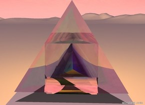 1st clear cube on ground. 1st clear tetrahedron in cube. 1st orange light is on ground. it is in 1st tetrahedron. camera light is pink. sun is pink. it is noon.