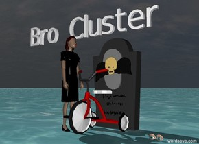 "There is a tricycle. Behind the tricycle is a tombstone. The sky is dark. The grass is green. There is a  small woman to the left of the tricycle. The woman is facing the tricycle. There is water under the woman's eyes. Small ""Bro Cluster"" above and behind woman."