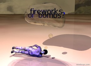 """[texture] woman is lying on ground. large clear thought bubble above woman. it is -3 feet right of woman. small blue  """"fireworks"""" is 1.5 feet in thought bubble. small blue """"or bombs?"""" is 2 feet in thought bubble. 3 white lights are 1 foot in thought bubble. ground is [bed]. sky is [fog]. it is dusk. camera light is blue. 1 white light 10 feet above and 10 feet in front of woman. 3 white lights 3 feet in thought bubble. 3 dim white lights 1 foot behind thought bubble. they are 20 feet above ground"""