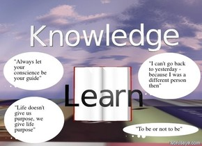 """Knowledge"" is one foot above the huge open book.  The huge open book is ninety feet above the ground.  ""Learn"" is ninety one feet above the ground.  ""Learn"" is in front of the huge open book.  ""Learn"" is facing south.  ""Learn"" is black..  The ground is [writing]."