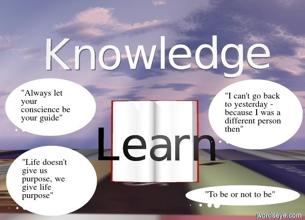 "Input text: ""Knowledge"" is one foot above the huge open book.  The huge open book is ninety feet above the ground.  ""Learn"" is ninety one feet above the ground.  ""Learn"" is in front of the huge open book.  ""Learn"" is facing south.  ""Learn"" is black..  The ground is [writing]."